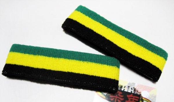 Bandeau sport pour tete et cheveux vert jaune noir Jamaique