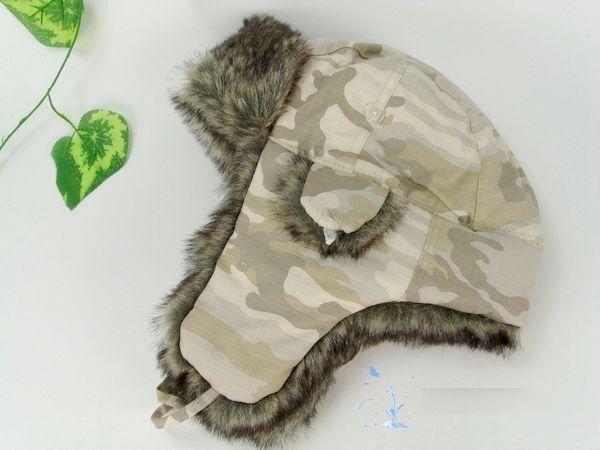 Chapeau russe soviétique chapka camouflage avec fourrure oreilles