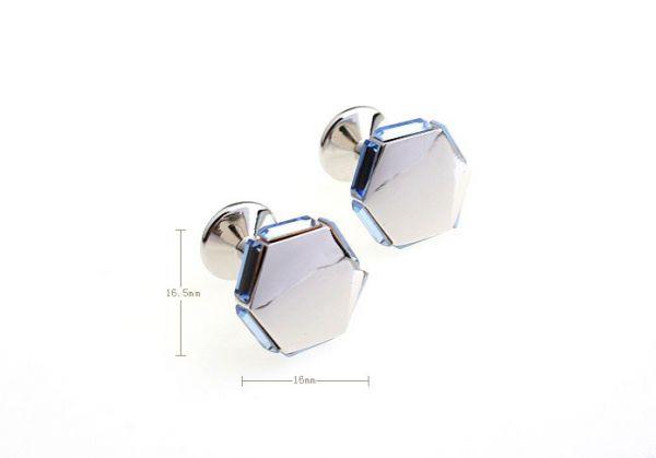 Boutons de manchettes octagone avec bordures en verre coloré
