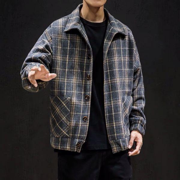 Blouson Plaid vintage en laine pour homme