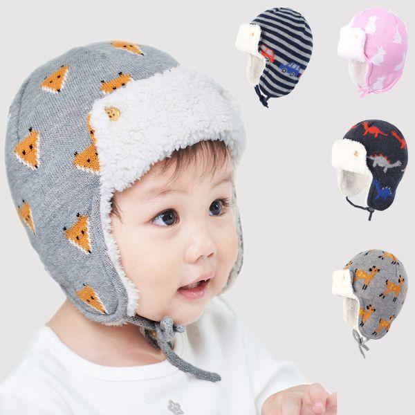 Bonnet chapka en laine épaisse pour enfants bien chaud avec impression