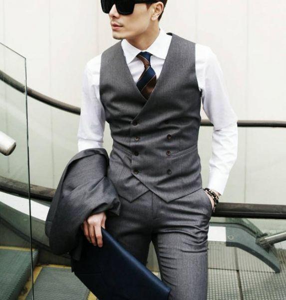 Gilet de costume pour homme avec double boutonnage