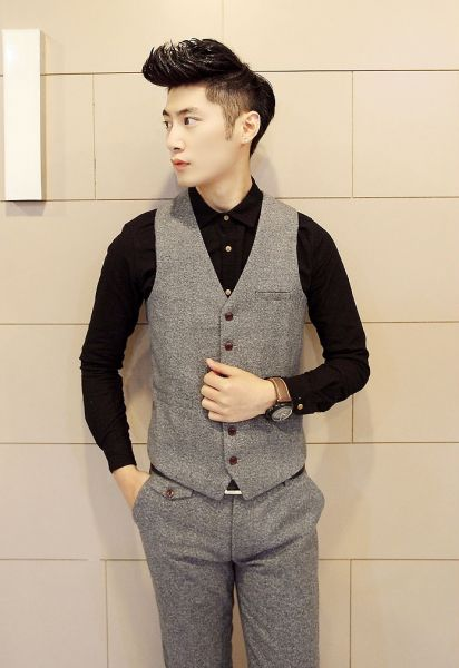 Gilet sans manche pour homme en tissu tweed style british