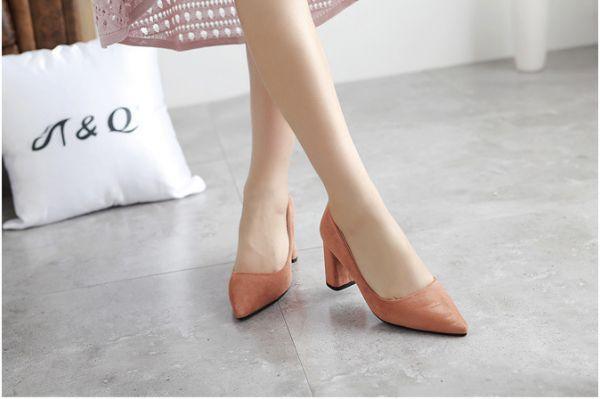Chaussures à talon pointues simples minimaliste simili cuir