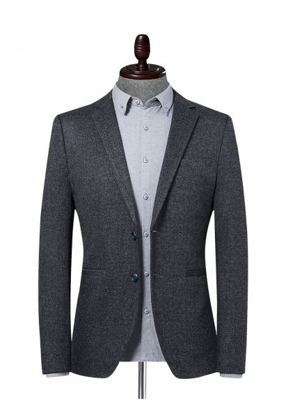 Veste de Costume gris classique tissu épais pour homme coupe slim à deux boutons