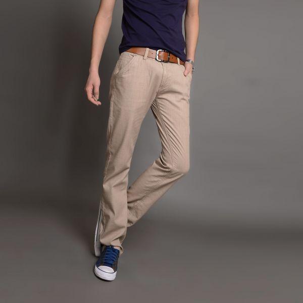 Pantalon en lin pour homme coupe slim tissu léger - Beige Marine Gris