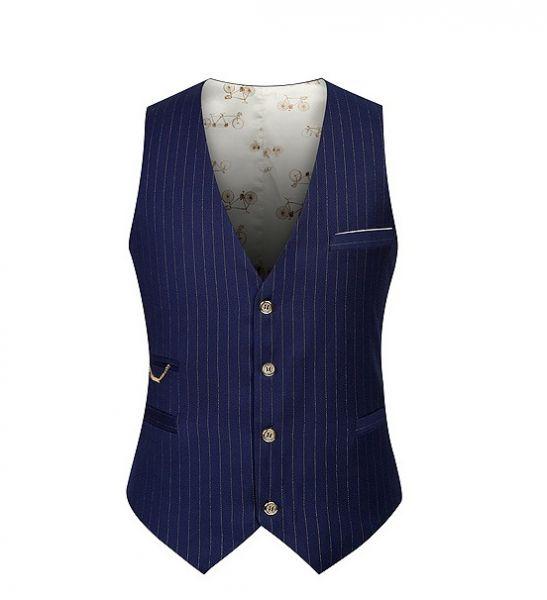 Gilet de costume à rayures fines pour homme style vintage