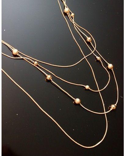 Collier fantaisie pour femme avec grosses perles dorées