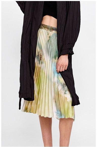 Jupe longue plissée avec effet peinture multicolor pastel