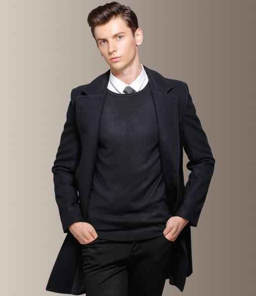 Manteau hiver long pour homme caban classique 60% laine