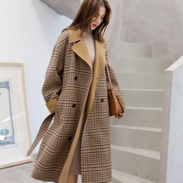 Manteau long à carreaux marron pour femme effet layering