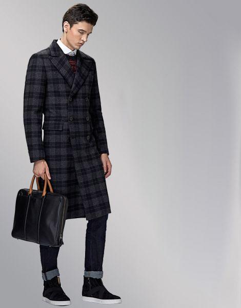 Manteau long en laine pour homme avec motif à carreaux