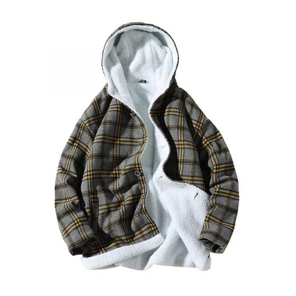 Manteau sherpa à carreaux avec capuche pour homme