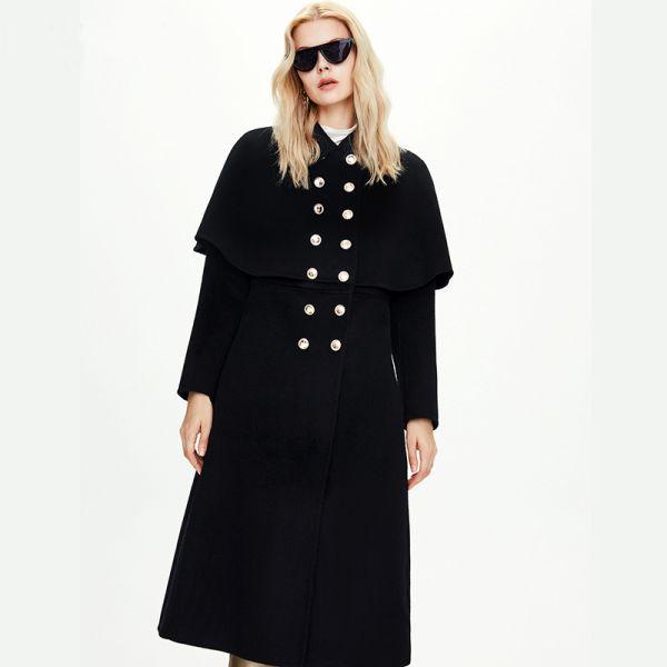 Manteau long cape en laine pour femme
