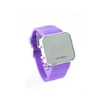 Montre LED carrée avec bracelet silicone - Violet