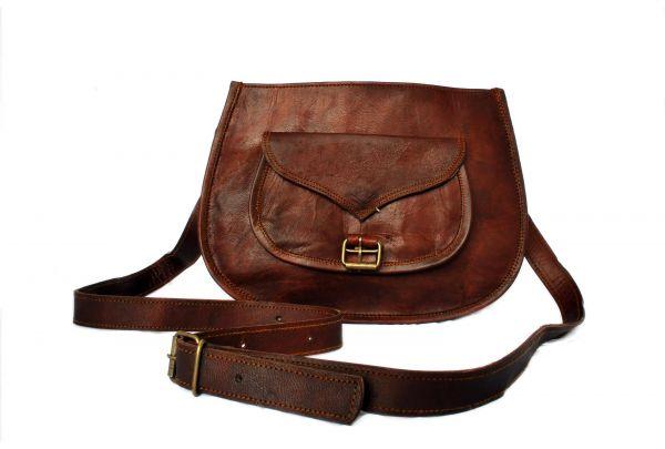Petit sac à bandolière en véritable cuir style retro vintage - 9 pouces
