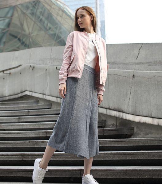 Pantalon en tricot large taille haute coupe flottante pour femme hiver