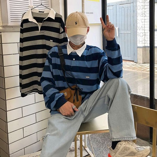 Polo vintage à manches longues avec rayures et col blanc