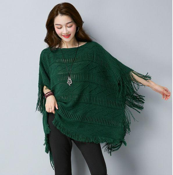 Pullover Poncho pour femme avec motifs tricotés et franges