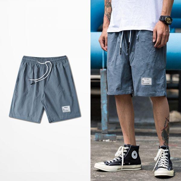 Short taille élastique à cordon tissu effet vieilli streetwear vintage