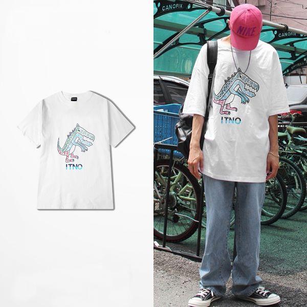 T-shirt homme en coton à manches courtes impression de dinosaure blanc et noir