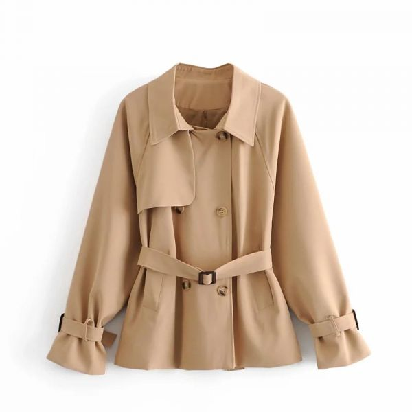 Trench-coat court double boutonnage beige