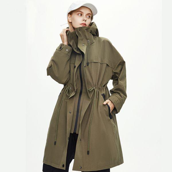 Trench-coat décontracté à capuche pour femme