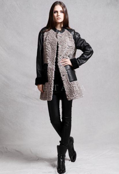 Manteau long pour femme avec corps en fourrure et manches en cuir de mouton