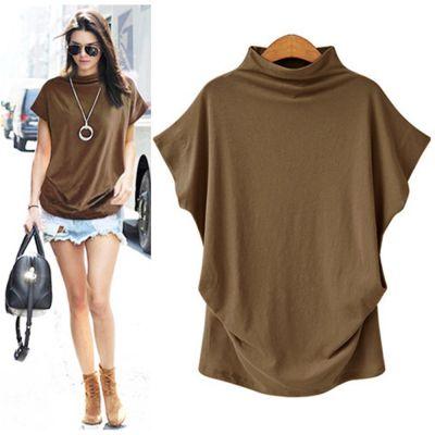 T-shirt à col roulé pour femme manches courtes