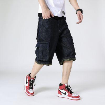 Jeans baggy homme grande taille avec poches imprimées à l'intérieur