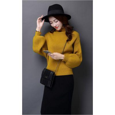 Pullover large pour femme avec col roulé coupe flottante