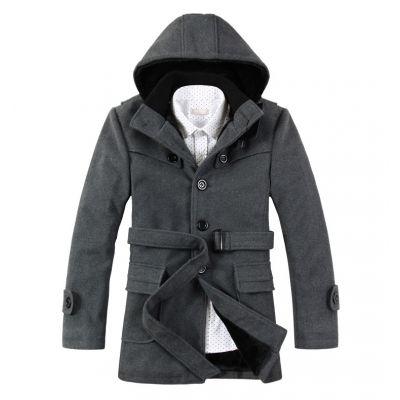 Manteau à capuche hiver fashion en laine pour homme avec ceinture