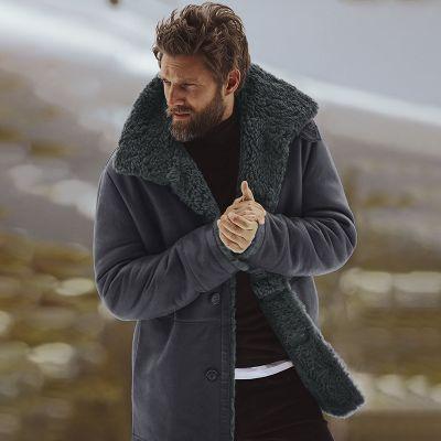 Manteau d'hiver pour homme imitation fourrure