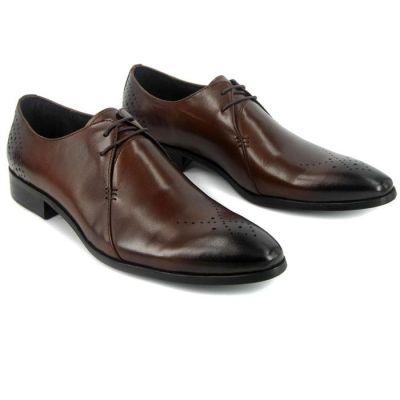 Chaussures de costume en cuir avec coutures et pointillés - marrons