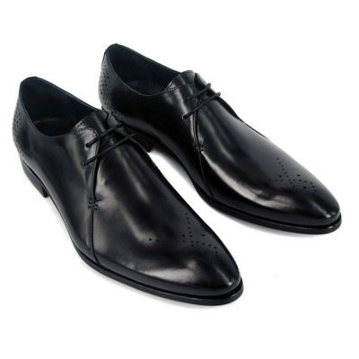 Chaussures de costume en cuir avec coutures et pointillés - noires