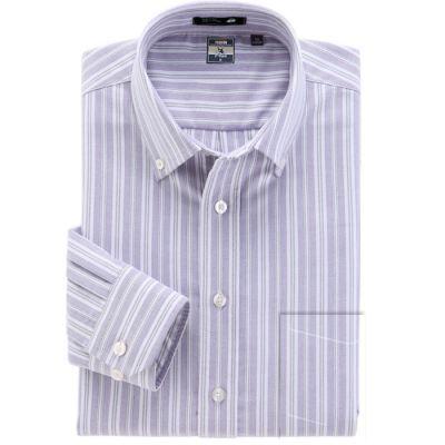 Chemise à rayures bleues violettes larges et fines