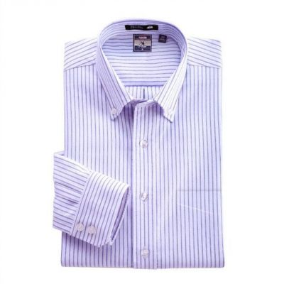 Chemise blanche à rayures fines bleues – manches longues