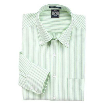 Chemise blanche à rayures bleues et vertes – manches longues