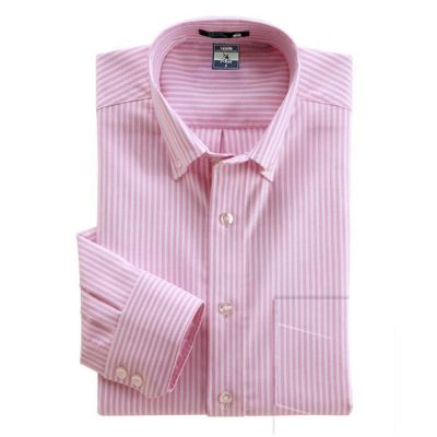 Chemise blanche à rayures roses – manches longues