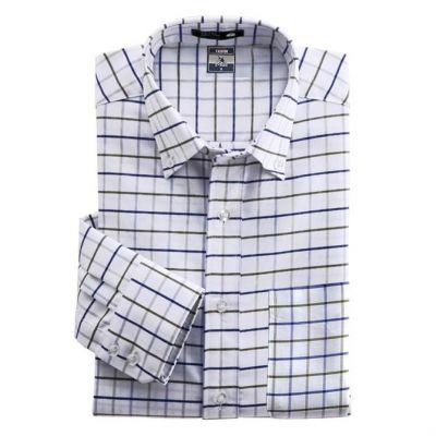 Chemise à motif carreaux écossais bleu gris – manches longues