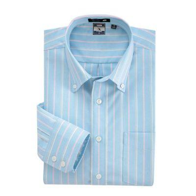 Chemise bleue à rayures roses et bleues – manches longues