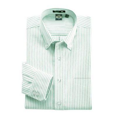 Chemise verte à rayures bleues fines – manches longues