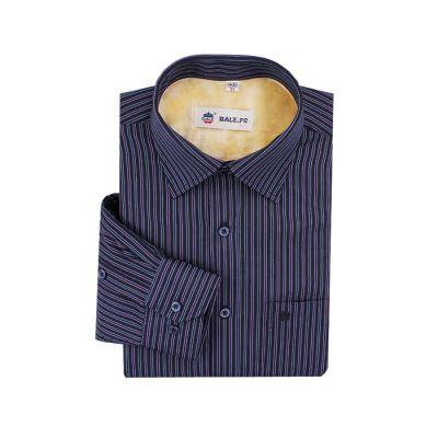 Chemise noire pour homme avec rayures bleues et violettes