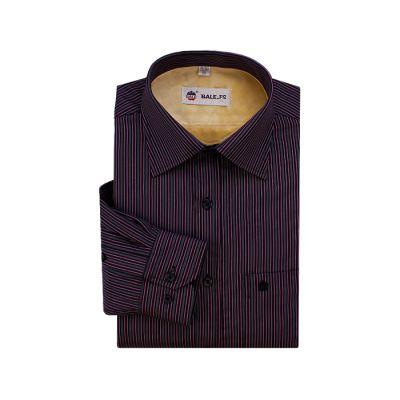 Chemise pour homme noire avec rayures roses et grises