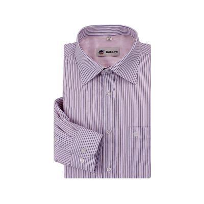 Chemise pour homme blanche à rayures roses et bleues – manches longues