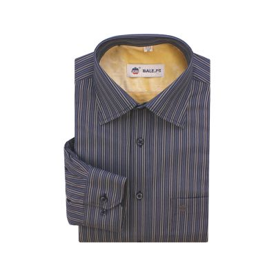 Chemise pour homme bleu marine à rayures grises – manches longues