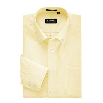 Chemise pour homme couleur unie jaune pale - manches longues