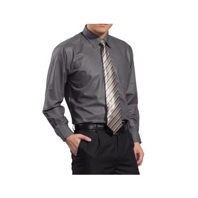 Chemise pour homme couleur unie gris – manches longues