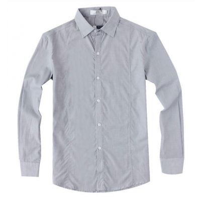 Chemise pour homme couleur unie gris pâle – manches longues