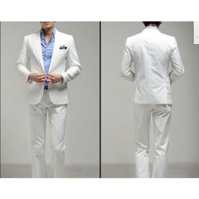 Ensemble costume slim classique pour soirée veste et pantalon – blanc